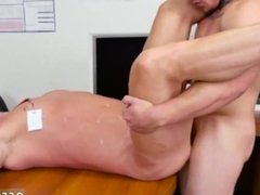Straight men stroking cock gay First day at work