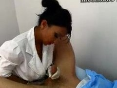 Female Doctor Jerking Patient's Dick and Ass
