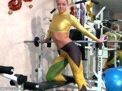 Katya workout spandex shiny