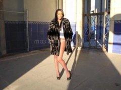 Ebony Off black pantyhose and white panties