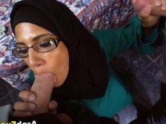 Needy Big Tits Arab Takes Two Big Dicks For Cash