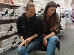 Hania and Grace in shoe store
