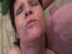 Hungry babes sucking cock and swallowing cum