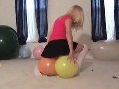 Skirt sit to pop balloon