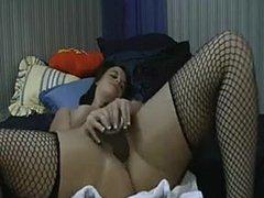 Fisting Big Booty White Girl joue avec Dildo noir