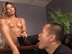 Asian Domme Lana Violet Makes Her Bitch Worship Her Ass and Feet