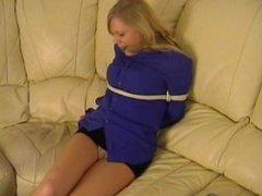 Blonde bound on couch