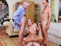 Creampie and brunette dominates old guy and old men young girl and old