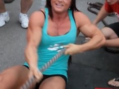 muscle babe pulls a truck
