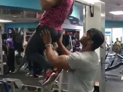 Gym trainer having all the fun he wants.mp4