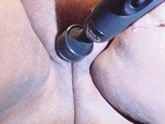 Close up hairy pussy masturbation super wet tease using vibrator