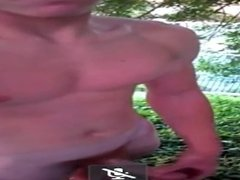Young Straight Teen Jerks Off In The Front Yard By The Road