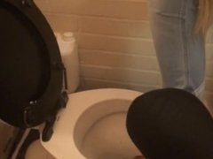 Mistress dips her dirty feet in toilet & then forces her slave to lick it