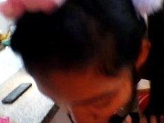 Tiny Asian Teen Heather Deep Anal Creampie on Bar Stool After Deepthroating