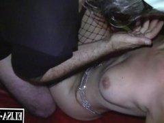 Blonde Slut gets gangbanged by 5 guys in swingers clubs