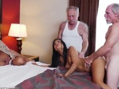 Riding old man and old granny lesbian with big boobs and old mature fuck