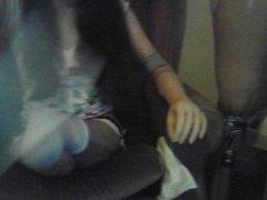 Triple Amputee Katie Putting on Legs