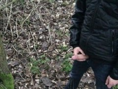 Fetish gay boy is pissing and jerking outdoors