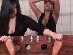 Asian Girl vs Ebony Girl Tickle Feet