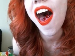 VERY SEXY pale readhead swallowing gummy brears-HD Giantess Vore Mouth Pov