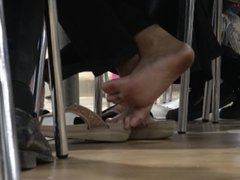 Delicious Filthy Asian Soles On Sandals At The Food Court