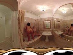 VR Porn Lesbian girlfriends in steamy bathroom fucking  Virtual Porn 360