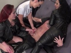 Leather boy milking by 3 leather vixens