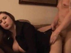 MILF wife smokes and fucks on sofa