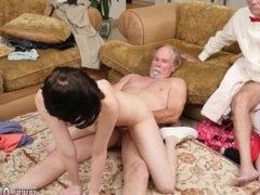 Japanese old father and old guy cums inside and girl and old dude piss