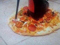 My girlfriend boot crush my pizza