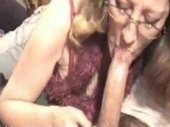 Milf in glasses sucks my cock