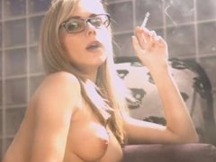 Chloe Toy Smoking Cigarette Topless in Fishnets and Glasses