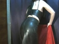 Leather babe farting