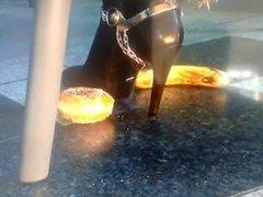 Boots crushing donuts and banana