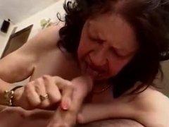 ugly granny think having sucking & riding skills but she's really wrong !