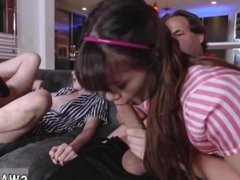 Lesbian mom sucks daughters pussy and father gives daughter a bath and