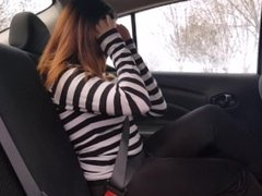Sexy Tease Car Sale Video with Clothed Public Masturbation