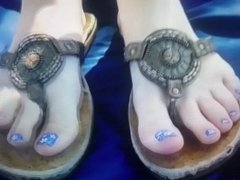 Pretty blue toes in sandals