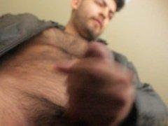 Don Stone Masturbating In Dark Brown Leather Jacket Hot Latino Angle 4