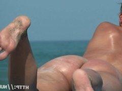 Hidden cam beach catches sexy nudist women