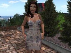 Une jolie femme brune en mini robe en rendez vous