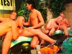 College guys masturbating parties and banana guide group sex movie and