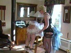 Femdom Sissy Maid caned