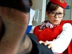 CHUBBY ASIAN BLK PANTYHOSE FOOT TEASE