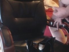 Handjob on chair and high heels shoes