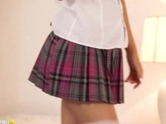 English Milf no panty in schoolgirl uniform miniskirt can't hide her pussy