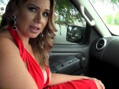 Hot Latin mom in red dress gets her mature pussy banged hard