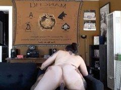 Tattooed slut rides big dick