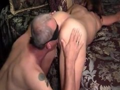 Husband licks strangers spunk from wifes cunt
