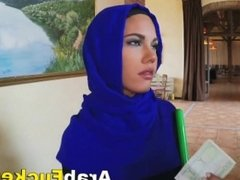 Nervous Arabian Maid Given Money For Slurping On Huge Tool